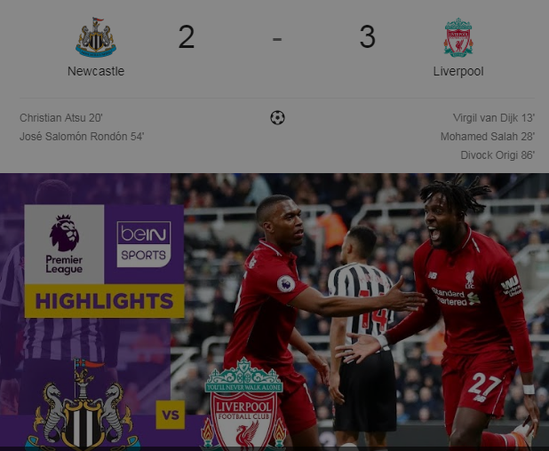Review Pertandingan New Castle Vs Liverpool : 2 – 3